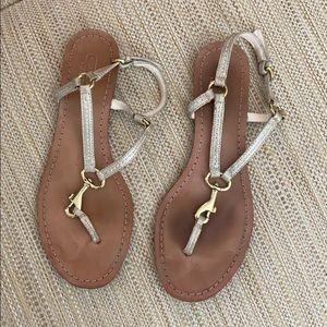Coach gold thong sandals